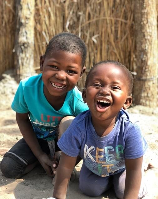 african kids laughing